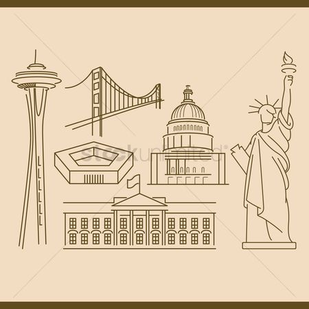 Space needle : Collection of usa monuments