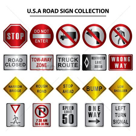 Narrow road ahead sign : Collection of usa road signs