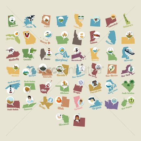 Seashore : Collection of usa state maps