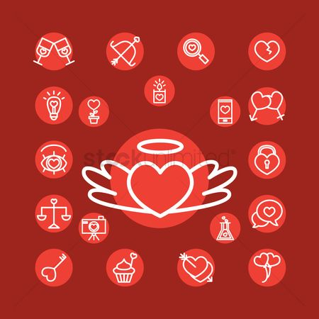 Weighing scale : Collection of valentine icons