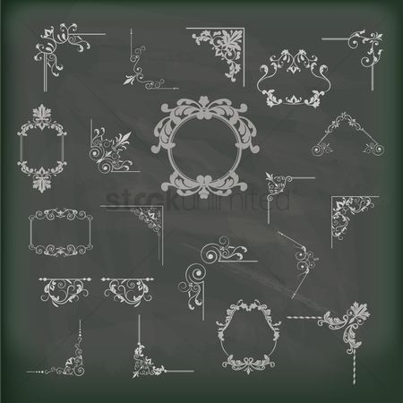 Borders : Collection of vintage frames on a blackboard