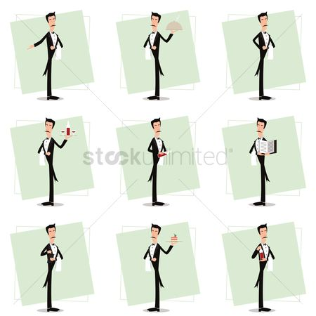 Servings : Collection of waiter in various activities