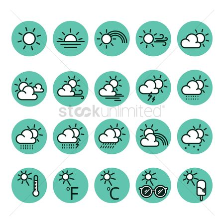 Summer : Collection of weather icons