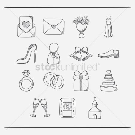 Weddings : Collection of wedding icons