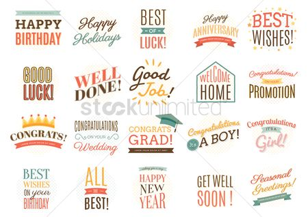 Fonts : Collection of well wishing labels