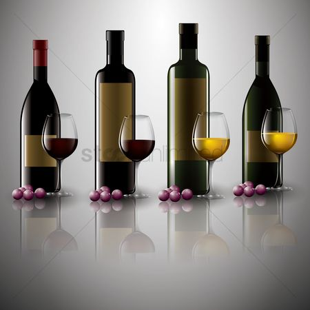 Grapes : Collection of wine bottles and glasses