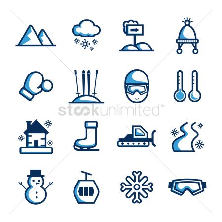 Temperatures : Collection of winter icons