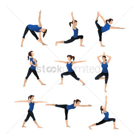 Lady : Collection of yoga poses