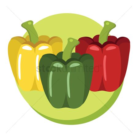 Green capsicum : Colorful bell peppers