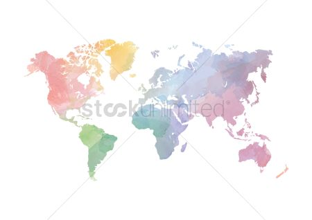 Journeys : Colorful world map