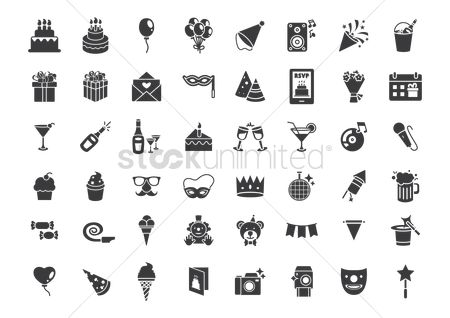 Microphones : Compilation of birthday related icons
