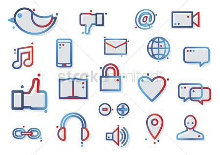 Email : Compilation of social media icons