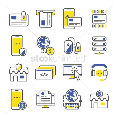 Currencies : Compilation of technology related icons
