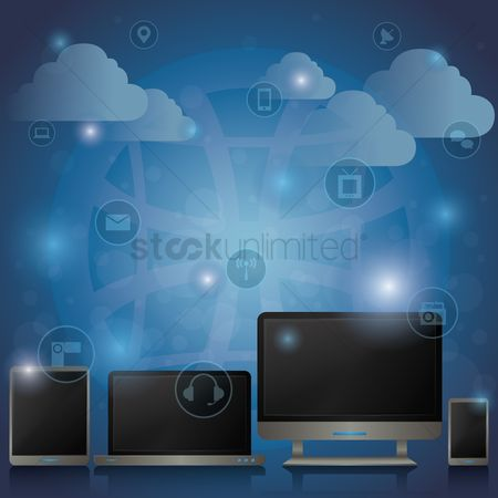 Tv : Computer gadgets with cloud concept