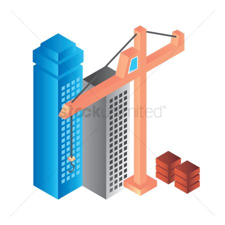 Machineries : Construction buildings and tower crane