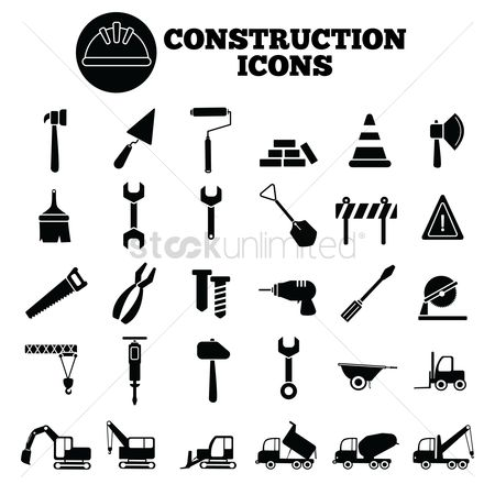 Wooden sign : Construction icons