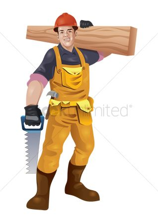 Builder : Construction worker carrying wood plank and saw