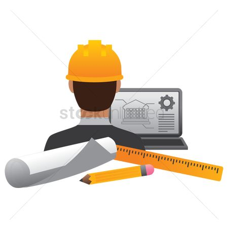 Workers : Construction worker with laptop and tools