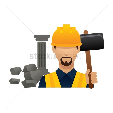 Builder : Construction worker with sledgehammer