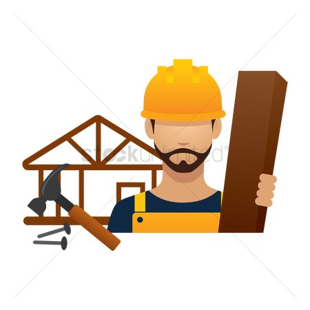 Builder : Construction worker with wood and tools