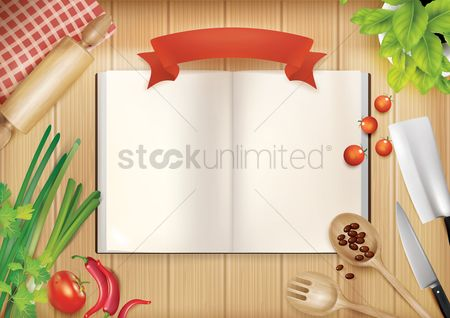 Health : Cookbook with kitchen utensils and ingredients