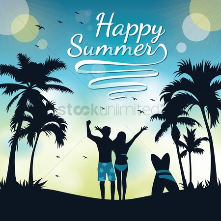 Summer : Couple on a beach in summer holidays