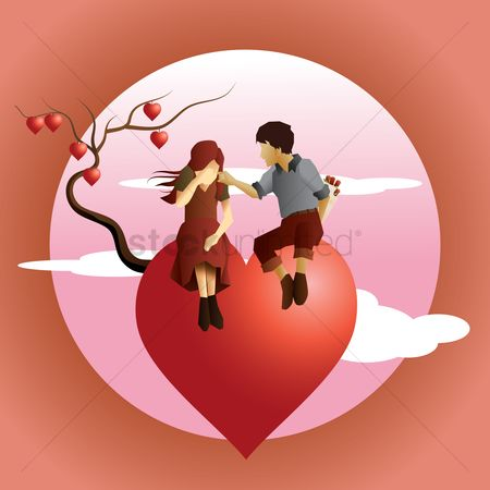 Romance : Couple sitting on tree of hearts