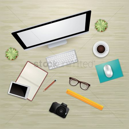Cameras : Creative design office workspace desk