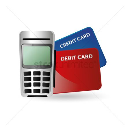 Credits : Credit card reader and banking cards