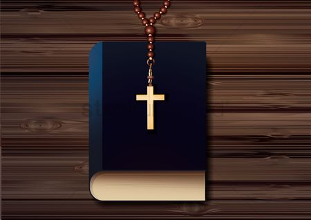 Wooden sign : Cross pendant with prayer beads necklace on bible poster