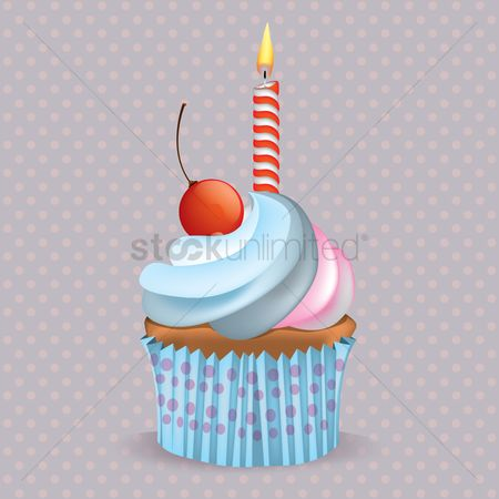 Confections : Cupcake with candle