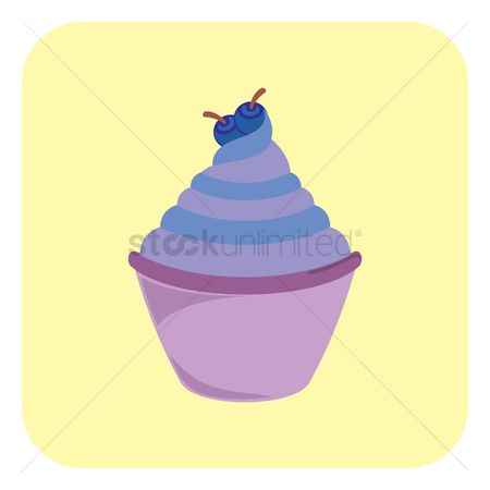 Blueberry : Cupcake with cream