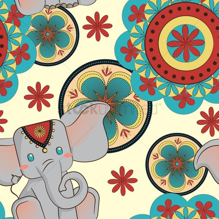 Elephant : Cute elephant and abstract background