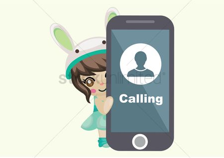 Calling : Cute girl with a smartphone