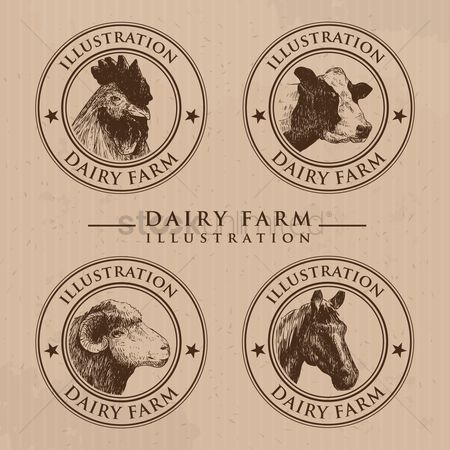 Sketching : Dairy farm animals set