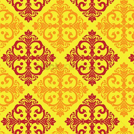 Royal : Damask vintage yellow and maroon pattern