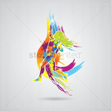 Work : Dancing girl with colorful splash