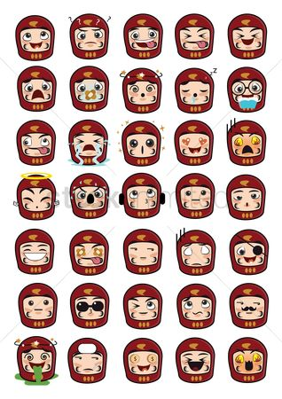 Dolls : Daruma doll emoticons