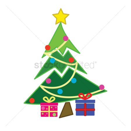 Surprise : Decorated christmas tree on white background