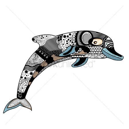 Hand drawn : Decorative dolphin design