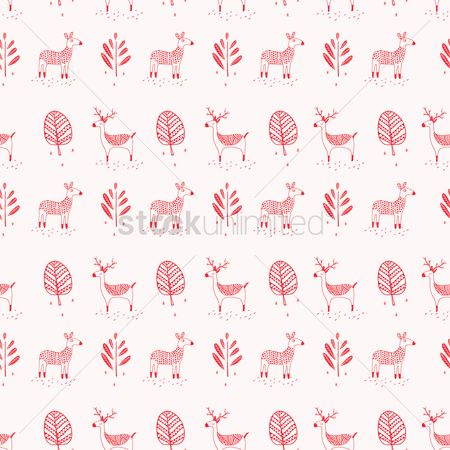 Antelopes : Deer with trees background design