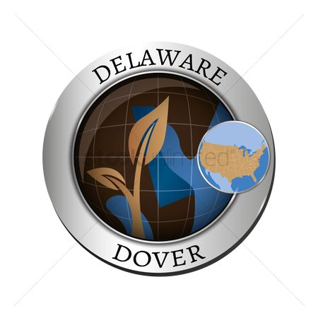 Delaware : Delaware state with plant badge