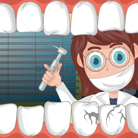 Dentist : Dentist examining patient s teeth