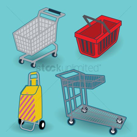 Hypermarket : Different types of shopping carts