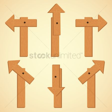 Wooden sign : Direction boards