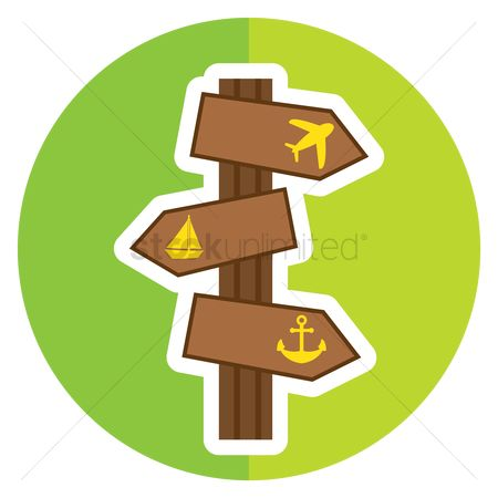 Wooden sign : Direction signboard