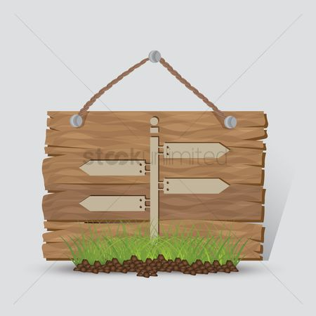 Wooden sign : Directional signpost