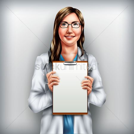 Profession : Doctor holding clipboard