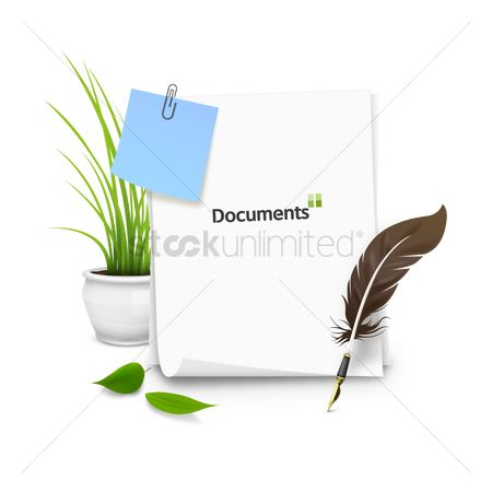 Sticky note : Documents with quill and potted plant