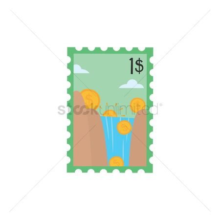Waterfalls : Dollar sign coins falling down the waterfall stamp